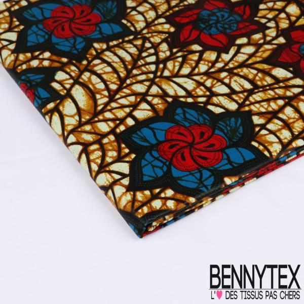 Wax Africain N°191: Motif Fleurs rouge et bleu fond Marbré Cappuccino