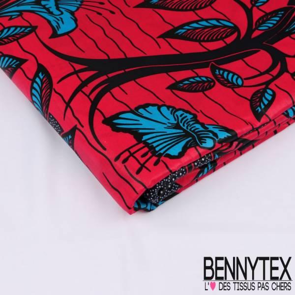 Wax Africain N°194: Motif Payasage Eau et Fleurs Azur fond Fushia