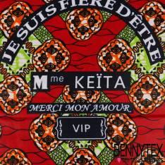 Wax Africain N°195: Motif Losange Médaillon Marbré Anis et Mandarine fond Rouge