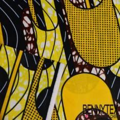 Wax Africain N°196: Motif Losange Médaillon Marbré Anis et Mandarine fond Rouge