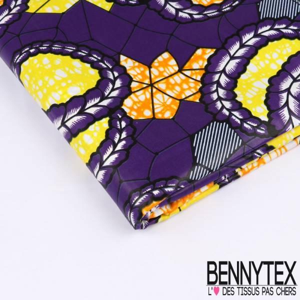 Wax Africain N°198: Motif Couronne de Pétale de Fleurs Violette fond Marbré Citron Mandarine