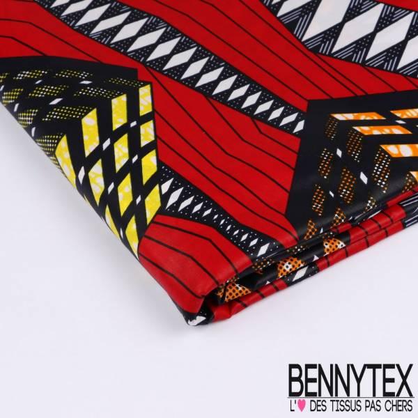 Wax Africain N°200: Motif Rubicube Marbré fond Rouge
