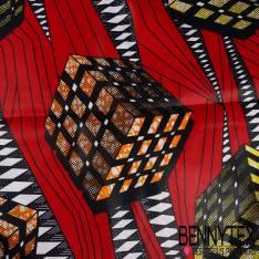 Wax Africain N°200: Motif Soleil Stylisé Marbré Kaki fond Marbré Emeraude
