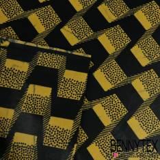 Wax Africain N°203: Motif Damier Striés Kaki, Mandarine et Noir
