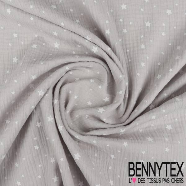Coton Double Gaze Perle Motif Petites Etoiles Blanches
