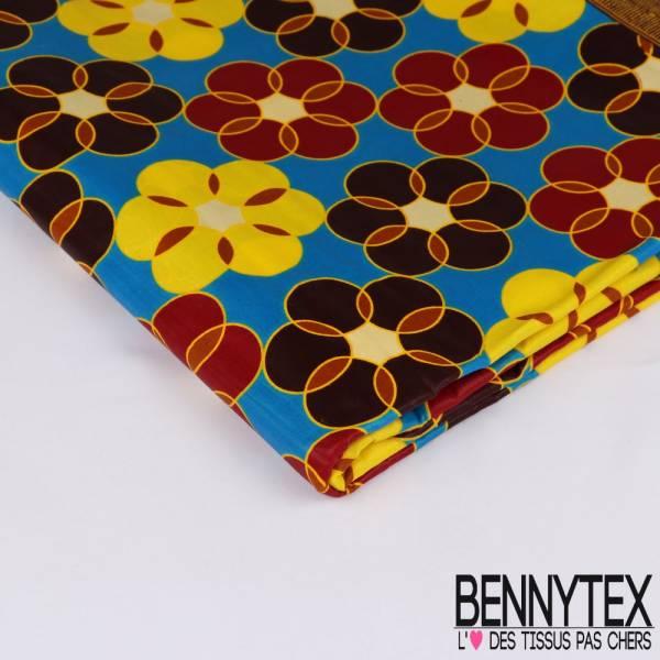 Wax Africain N° 207: Motif Fleurs en Rond Fond Bleu Saphir