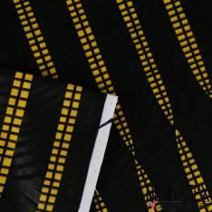 Wax Africain N° 209: Motif Géométrique Jaune Répétitif Fond Noir