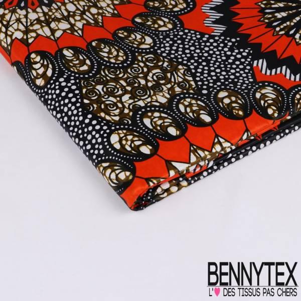 Wax Africain N° 212: Motif Fleurs Ethniques Carotte Fond Rayé et Pois noir et blanc