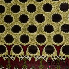 Wax Africain N° 214: Motif Fleurs Seventies Aubergine double base fond Jaune pâle