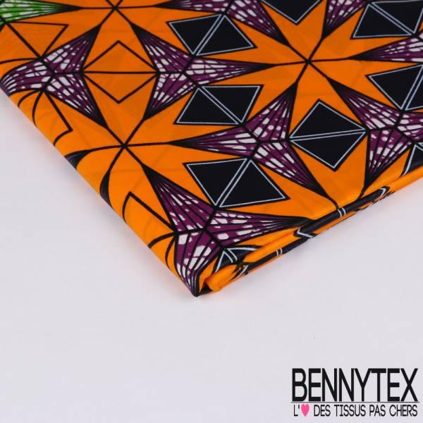 Wax Africain N° 215: Motif Feuilles d'érable Stylisée Mandarine fond Marbré Pomme Violine