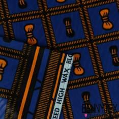 Wax Africain N° 216: Motif Petits Noeuds Orangé dans Cadre fond Bleu Roi