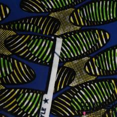 Wax Africain N° 218: Motif Ovales Zébrés effet Marbré Pomme et Jaune fond Bleu Roi