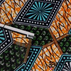 Wax Africain N° 219: Motif Losange Psychédélique fond Marbré Pomme et Jaune Or