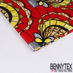Wax Africain N° 220: Motif Coquille st Jacque Stylisée Marbrée fond rouge