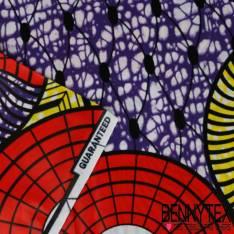 Wax Africain N° 221: Motif Grandes Roues Vermillon fond Marbré Violet