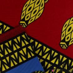 Wax Africain N° 222: Motif Petites Amphores Bandes Bleu, Jaune et Rouge