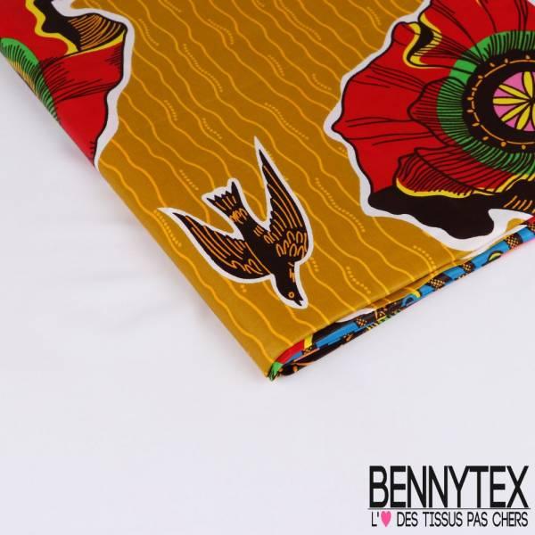 Wax Africain N° 224: Motif Faune et Flore sur l'eau fond Kaki clair et Jaune Or