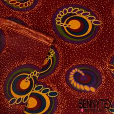 Wax Africain N° 227: Motif Anneaux Gigognes Multicolorefond Céleste Lie de Vin