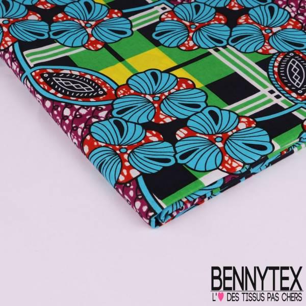 Wax Africain N° 228: Motif Nappe à Carreaux et Fleurs Multicolores