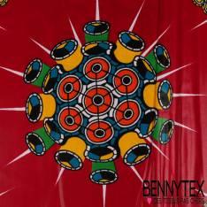 Wax Africain N° 231: Motif Boule à Facette Disco Multicolores fond Framboise