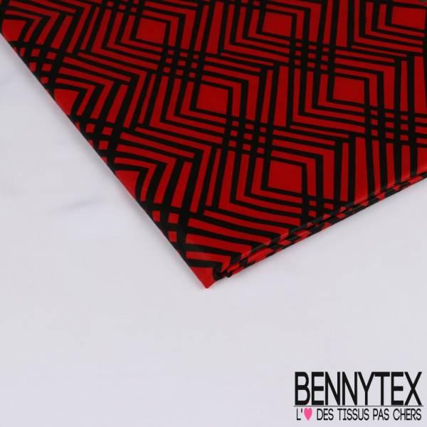Wax Africain N° 232: Motif Enchevêtrement de Losange Noir fond Rouge Pompier