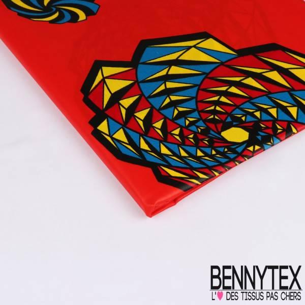 Wax Africain N° 233: Motif Spirale Origami Multicolore fond Vermillon