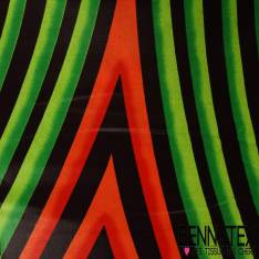 Wax Africain N° 234: Motif Forme Amande Psychédélique Mandarine Pomme
