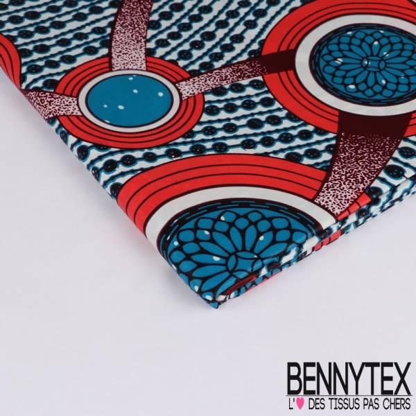 Wax Africain N° 235: Motif Rangée de Perles Bleu Rose Malabar fond Blanc
