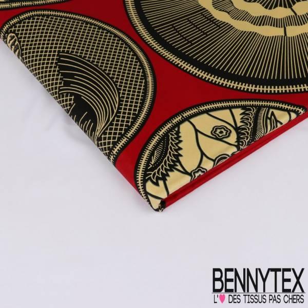 Wax Africain N° 236: Motif Médaillon Divers Crème fond Rouge Cerise