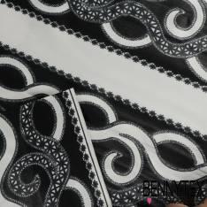 Wax Africain N° 237: Motif Frise Serpentin Noir Anthracite fond Ecru