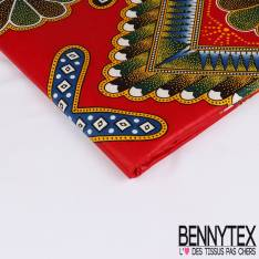 Wax Africain N° 238: Motif Indien Multicolore fond Rouge