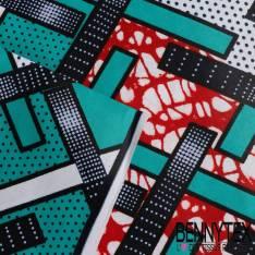 Wax Africain N° 239: Motif Croix Asymétrique multicolores fond Emeraude Pois et Marbré