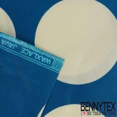 Edition limitée Wax Africain N° 240: Motif Gros Pois Ecru fond Azur