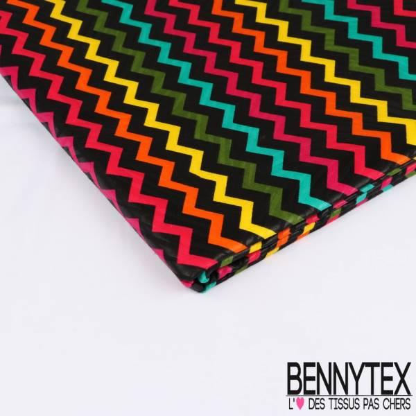Edition limitée Wax Africain N° 241: Motif Frise Sinusoïdale Multicolore fond Noir