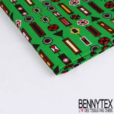 Edition limitée Wax Africain N° 247: Motif Petits Cabochons Fantaisies Multicolores fond Pomme