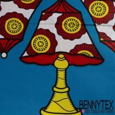 Edition limitée Wax Africain N° 257: Motif Lampe de Chevet Abajour Africain fond Azur