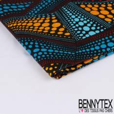 Edition limitée Wax Africain N° 258: Motif Ligne Asymétrique de Pois Psychédélique Multicolores fond Noir