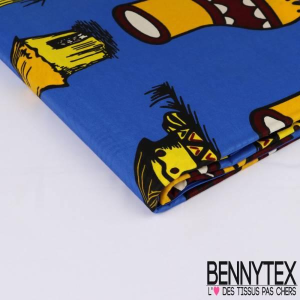 Wax Africain N° 261: Motif Hutte Africaine fond Bleu Roi