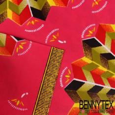 Edition limitée Wax Africain N° 263: Motif Rosace Aztèque fond Fushia