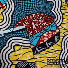 Edition limitée Wax Africain N° 269: Motif Hamberger fond bariolé Marbré Strié Bleu Jaune Rouille