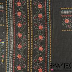 Polyester fin Impression Folklorique Imitation Broderie fond Noir
