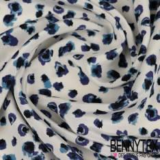 Soie Microfibre Impression Coquelicot en Lavis Bleu fond Ecru