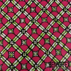 Edition limitée Wax Africain N° 275: Motif Répétitif Croix Marbrée Vert et Rond Fushia