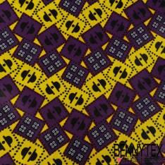 Edition limitée Wax Africain N° 276: Motif RChapeau Melon Noir et dés fond Citron et Violet