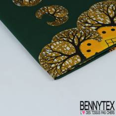 Edition limitée Wax Africain N° 277: Motif Arbre Marbré Vert Olive fond Vert Bouteille