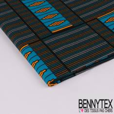 Edition limitée Wax Africain N° 282: Motif Pixel Or, Bleu et Blanc