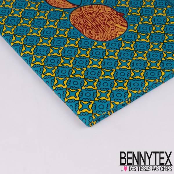 Edition limitée Wax Africain N° 281: Motif Oriental Jaune et Bleu