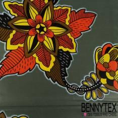 Edition limitée Wax Africain N° 289: Motif Grose Fleurs Seventies fond Olive