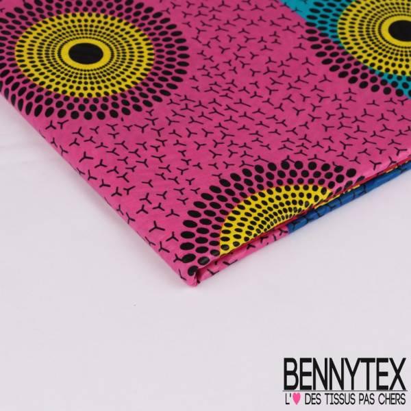Wax Africain N° 291: Motif Rosace Pointillisme Noir fond Bleu Roi Rouge Fushia et Turquoise