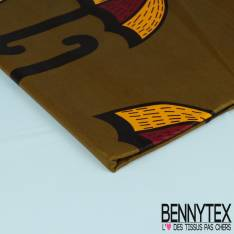 Wax Africain N° 295: Motif Gros Parapluie fond Cappuccino